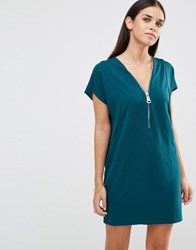 Ax Paris Oversized Dress With Zip Front Teal Green