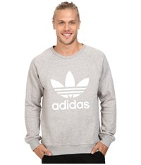 Adidas Trefoil Crew Medium Grey Heather White Men's Long Sleeve Pullover Gray