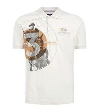 La Martina Pique Polo Player Polo Shirt Male Cream