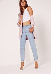 Missguided High Rise Mom Jeans Pink Stitch Mid Wash Blue Blue