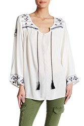 Angie Embroidered Crepe Tunic Beige