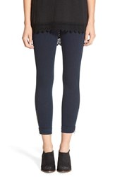 Lysse Women's Cuffed Denim Crop Leggings Indigo