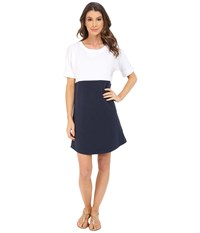 Lilla P Flam French Terry Elbow Sleeve Dress White New Navy Women's Dress