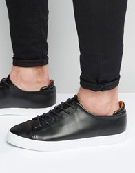 Asos Lace Up Trainers In Black With Toe Cap Black