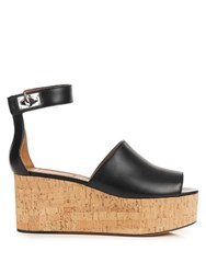 Givenchy Rinny Leather Flatform Wedge Sandals Black