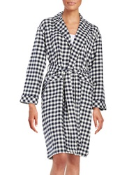 Lord And Taylor Plaid Cotton Robe Navy Buff