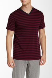 Daniel Buchler Striped V Neck Short Sleeve Tee