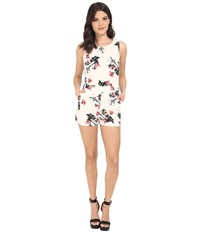 Bb Dakota Aniston Rose Garden Printed Heavy Rayon Romper Ivory Women's Jumpsuit And Rompers One Piece White