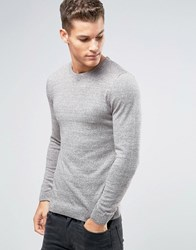 Asos Muscle Fit Cotton Crew Neck Jumper Light Pink And Khaki Grey