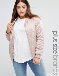 New Look Plus Quilted Satin Bomber Jacket Shell Pink