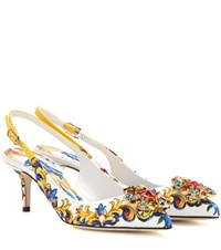 Dolce And Gabbana Embellished Printed Jacquard Slingback Pumps Multicoloured
