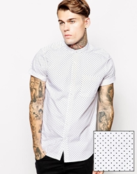 Asos Shirt In Short Sleeve With Polka Dot Print And Grandad Collar White