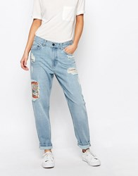 Waven Waven Aki Boyfriend Jeans With Patches And Distressing Idol Blue Cream