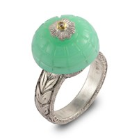 Emma Chapman Jewels Samsara Carved Chrysoprase And Diamond Ring Green