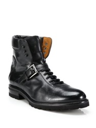 Saks Fifth Avenue Leather Moto Boots Black