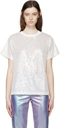 Ashish Off White Sequin Mesh T Shirt
