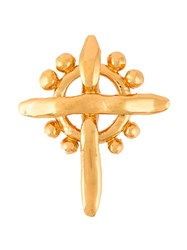 Christian Lacroix Vintage Gold Cross Brooch Metallic