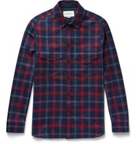 Gucci Slim Fit Appliqued Checked Wool Blend Flannel Shirt Blue
