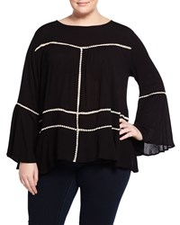 Cirana Plus Bell Sleeve Crochet Trim Blouse Black Ivory