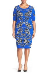 Adrianna Papell Scoop Neck Jacquard Sweater Dress Plus Size Blue