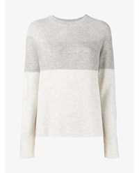 Vince Wool And Cashmere Crew Neck Sweater Cream Grey Black White
