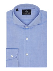 Chester Barrie Textured Tailored Fit Long Sleeve Cutaway Collar Blue