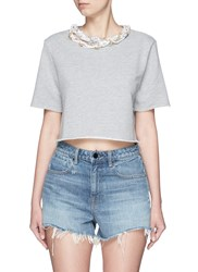 Forte Couture Faux Pearl Chain Neck Cropped French Terry Sweatshirt Grey