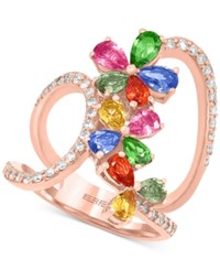 Effy Collection Effy Multi Stone 3 Ct. T.W. And Diamond 1 3 Ct. T.W. Flower Ring In 14K Rose Gold