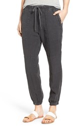Women's James Perse Drawstring Linen Utility Pants Carbon Pigment