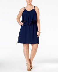Eyeshadow Plus Size Printed Flounced Fit And Flare Dress Navy