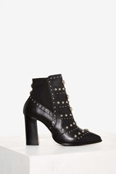Nasty Gal Skyler Studded Leather Bootie Black