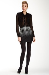 L.A.M.B. Genuine Leather Detail Jacquard Skirt Multi