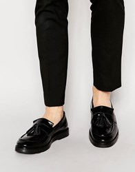 Asos Tassel Loafers In Black Leather Black