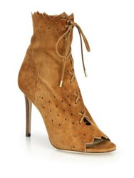 Jimmy Choo Dei Cashmere Suede Laser Cut Lace Up Booties