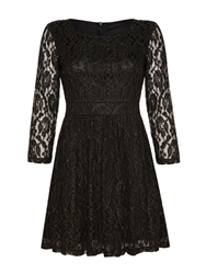 Mela Loves London Pleated Lace Dress Black