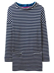 Joules Boat Neck Stripe Jersey Top French Navy White