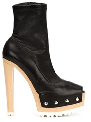 Vera Wang Open Toe Studded Booties Black