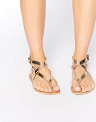 Warehouse Strap Flat Leather Sandals Gold
