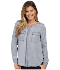 Vince Camuto Long Sleeve Pastel Fade Collarless Utility Shirt Wash Orchid Women's Long Sleeve Button Up Gray
