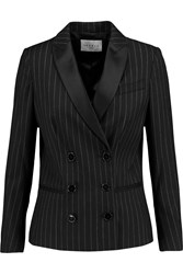 Sandro Viva Pinstriped Wool Blend Blazer Black