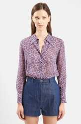 Topshop Unique 'Ottoline' Floral Print Long Sleeve Silk Shirt Purple Multi