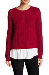 Cable And Gauge Knit Shirttail Sweater Twofer Red