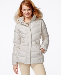 Larry Levine Faux Fur Hood Down Puffer Jacket Ivory
