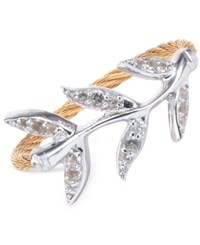 Charriol Women's Laetitia White Topaz Accent Leaves Two Tone Pvd Stainless Steel Cable Ring Two Tone