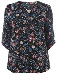 Evans Black Floral 3 4 Sleeve Shirt