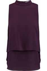 Elizabeth And James Tashi Layered Crepe And Silk Chiffon Top Purple