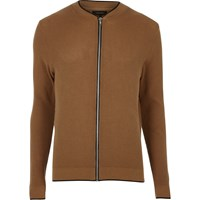 River Island Mens Brown Ribbed Cardigan Bomber Jacket