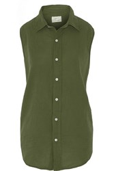 Current Elliott The Sleeveless Grad Shirt Cotton Top Green