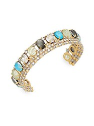 Alexis Bittar Elements Black Mother Of Pearl Howlite Turquoise And Swarovski Crystal Doublet Lace Cuff Bracelet Multi