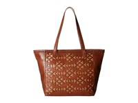 American West Azteca Zip Top Bucket Tote Antique Brown Tan Tote Handbags